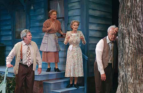 Joe Cronin (left) as Theodore Swanson, Jane Ridley as Cora Swanson, Anne Newhall as Aaronetta Gibbs and Richard Kinter as Carl Bolton in Morning's at Seven, 2004.