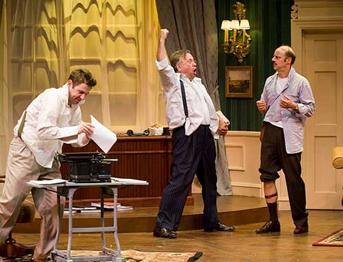 Brian Vaughn (left) as Victor Fleming, Neil Friedman as David O. Selznick, and Remi Sandri as Ben Hecht in the Utah Shakespeare Festival's 2008 production of Moonlight and Magnolias.