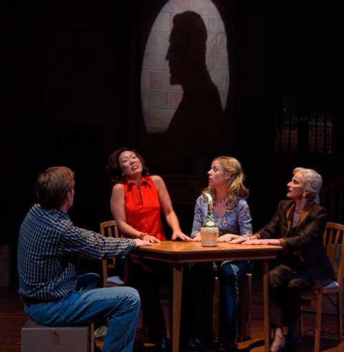 Glenn Kalison (left) as Andrew Rally, Mia Whang as Felicia Dantine, Elisabeth Adwin as Deirdre McDavey, and Fredi Olster as Lillian Troy in the Utah Shakespeare Festival's 2002 production of  I Hate Hamlet.