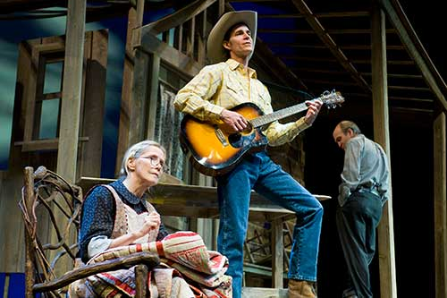 Joyce Cohen (left) as Annie Nations, John Bisom as Dillard Nations, and Will Zahrn as Hector Nations in the Utah Shakespeare Festival's 2009 production of Foxfire.