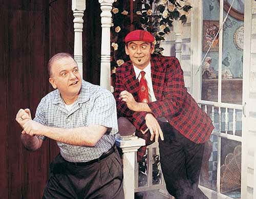 George Judy (left) as Joe Boyd and A. Bryan Humphrey as Mr. Applegate in Damn Yankees, 1999.
