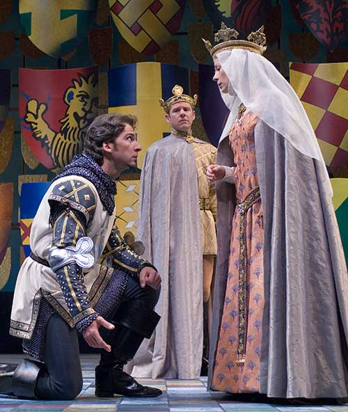 Michael Sharon as Lancelot (left), Brian Vaughn as Arthur, and Christine Williams as Guenevere in the Utah Shakespeare Festival's 2005 production of  Camelot .