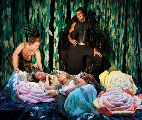 Ben Charles (left) as Puck, Max Robinson as Nick Bottom, Kymberly Mellen as Titania, and Elijah Alexander as Oberon in the Utah Shakespeare Festival's 2011 production of A Midsummer Night's Dream.