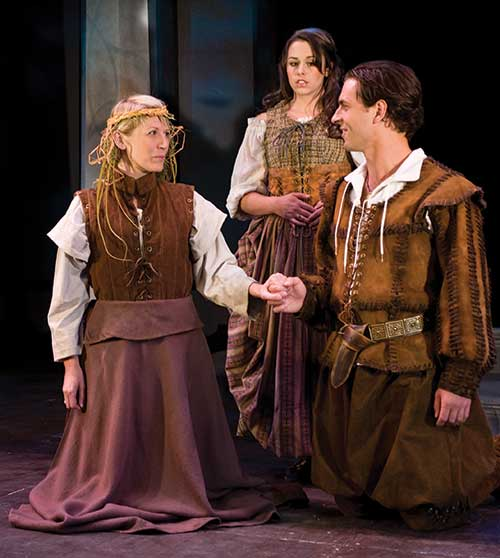 Melinda Parrett (left) as Rosalind, Marcella Rose Sciotto as Celia, and Quinn Mattfeld as Orlando in the Utah Shakespeare Festival's 2009 production of As You Like It.