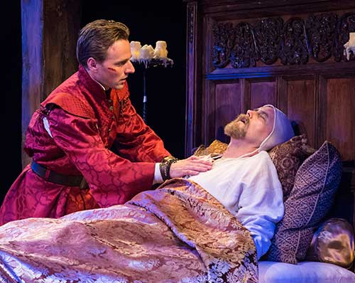 Sam Ashdown (left) as Prince Hal and Larry Bull as Henry IV in Henry IV Part Two, 2015.