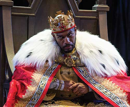 Corey Jones as King John in the Utah Shakespeare Festival's 2013 production of King John. (Photo by Karl Hugh. Copyright Utah Shakespeare Festival 2013.)