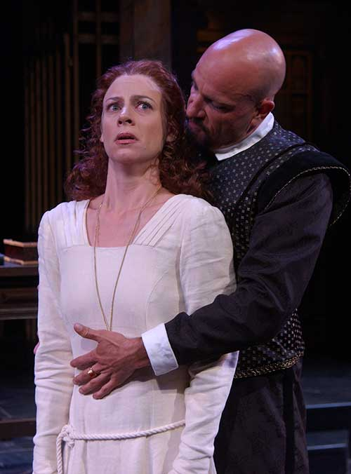 Elisabeth Adwin (left) as Isabella and Scott Coopwood as Angelo in the Utah Shakespeare Festival's 2003 production of Measure for Measure. (Photo by Karl Hugh. Copyright Utah Shakespeare Festival 2003).