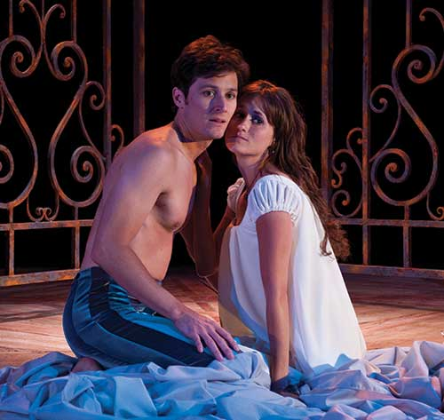 Christian Barillas (left) as Romeo and Magan Wiles as Juliet in the Utah Shakespeare Festival's 2011 production of Romeo and Juliet. (Photo by Karl Hugh. Copyright Utah Shakespeare Festival 2011.)