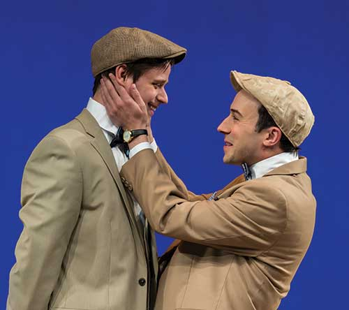 John Maltese (left) as Valentine and Tasso Feldman as Proteus in  The Two Gentlemen of Verona,  2015.