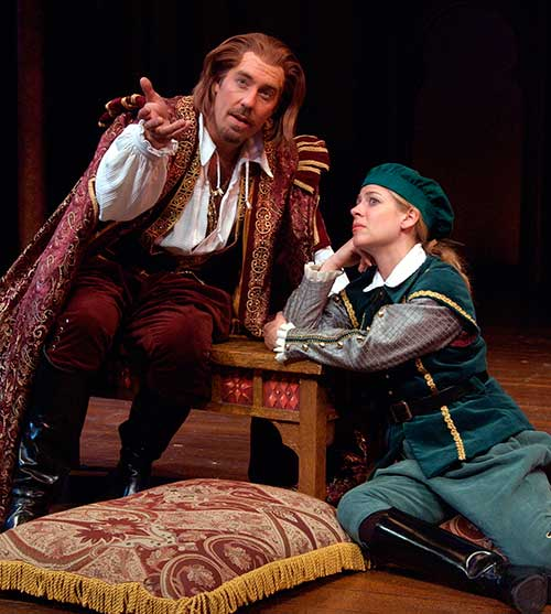 David Ivers (left) as Orsino and Elisabeth Adwin as Viola in Twelfth Night, 2002.
