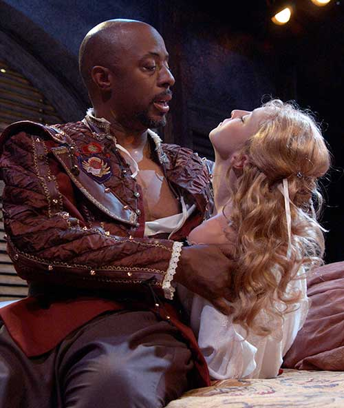 David Toney (left) as Othello and Susan Shunk as Desdemona in Othello, 2002.