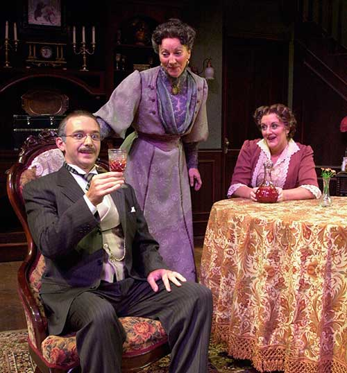 Stephen Patrick Smith (left) as Mr. Witherspoon, Leslie Brott as Martha Brewster, and Laurie Birmingham as Abby Brewster in the Utah Shakespeare Festival's 2001 production of Arsenic and Old Lace