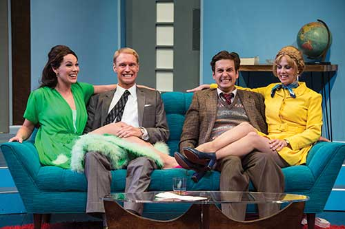 Tracie Thomason (left) as Gabriella, Grant Goodman as Bernard, Quinn Mattfeld as Robert, and Nell Geisslinger as Gretchen in the Utah Shakespeare Festival's 2014 production of Boeing Boeing.
