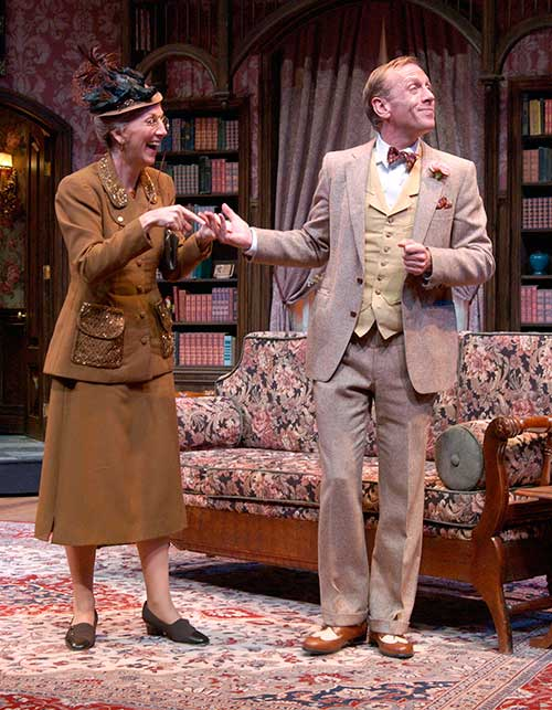Leslie Brott as Mrs. Ethel Chauvenet, and Sam Stewart as Elwood P. Dowd in the Utah Shakespeare Festival's 2002 production of Harvey.