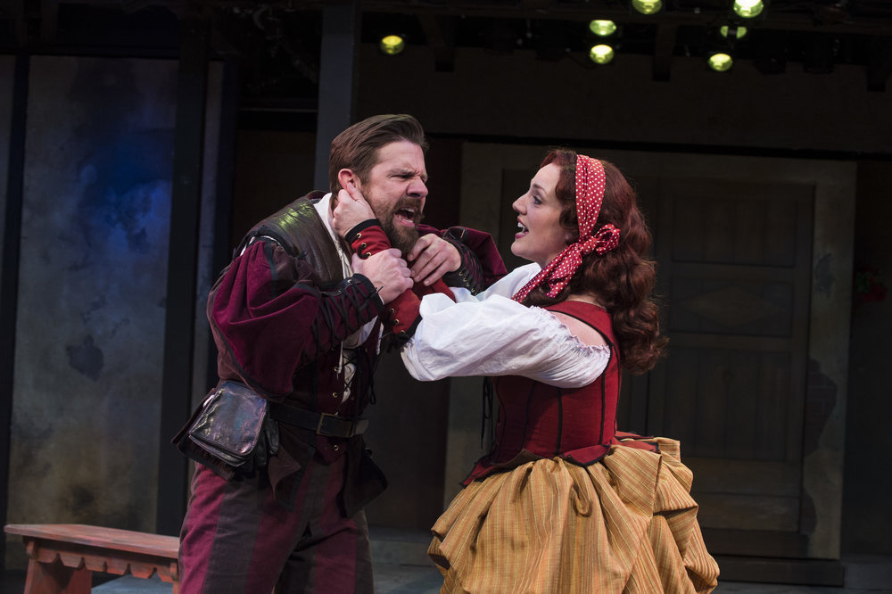 Brian Vaughn (left) as Petruchio and Melinda Pfundstein as Katherine in  The Taming of the Shrew,  2015.