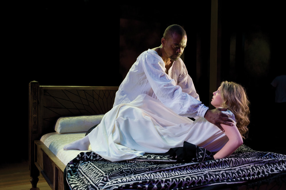 Jonathan Earl Peck (left) as Othello and Lindsey Wochley as Desdemona in  Othello,  2008 .