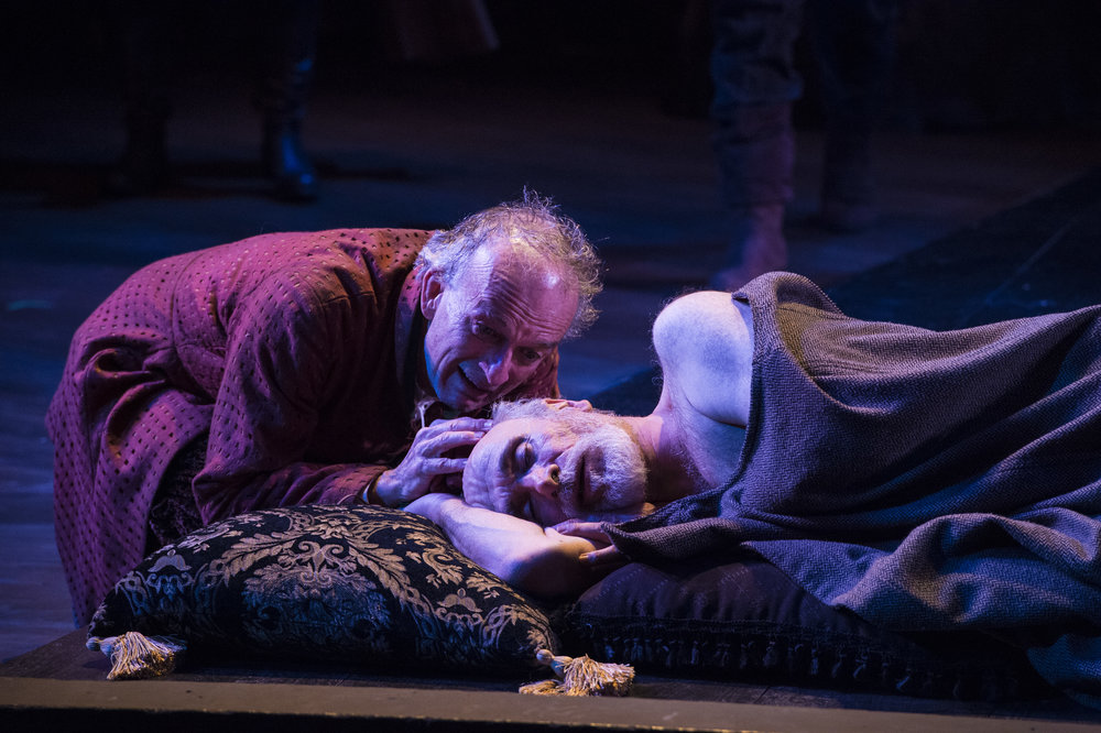 David Pichette (left) as Fool and Tony Amendola as Lear in  King Lear,  2015 .