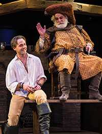 Sam Ashdown (left) as Prince Hal and Henry Woronicz as Sir John Falstaff in Henry IV Part One, 2014..