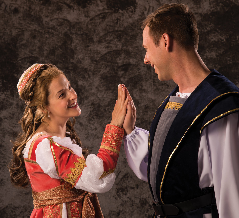 Betsy Mugavero (left) as Juliet and Shane Kenyon as Romeo in the Utah Shakespeare Festival's 2017 production of Romeo and Juliet. (Photo by Karl Hugh. Copyright Utah Shakespeare Festival 2017.)