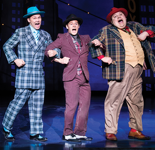 Josh Durfey (left) as Benny Southstreet, Brandon Burk as Rusty Charlie, and Redge Palmer as Nicely-Nicely Johnson in  Guys and Dolls,  2017.