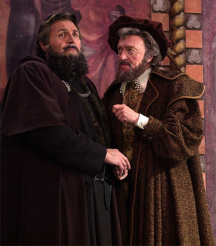 Anthony De Fonte (left) as Shylock and Richard Thomsen as Antonio in 2000