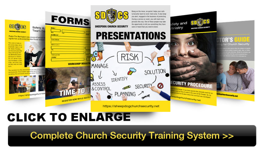 The Complete Church Security Training System is your ultimate Safety Preparedness resource. It contains every training bundle that Sheepdog Church Security has to offer, with an unbeatable price to assist churches with limited resources. With this comprehensive training system, you will be guided through the process of setting up your Safety Ministry, finding the right staff and volunteers, assessing the security needs of your unique church and training your team on the various threats to the safety of church property, assets and people. Each training presentation is fully customizable to allow modifications in accordance to your churches specific size, setting and policies.  They also contain instructor notes, and other helpful resources like forms, cheat sheets and example policies.