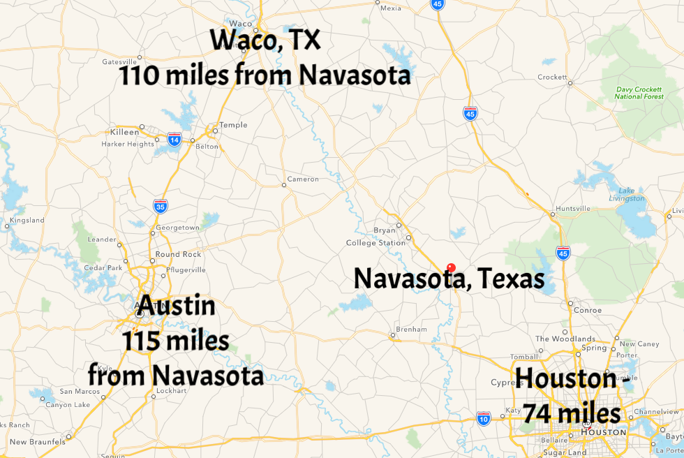 Click on map to enlarge   How far is Navasota, TX from you?