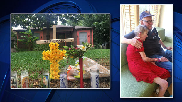 Edward Sebastian's neighbors started a memorial in front of his house after he was murdered (left); Sebastian lost his daughter to cancer last week (right). Photo credit: Maria Guerrero/Sebastian Family