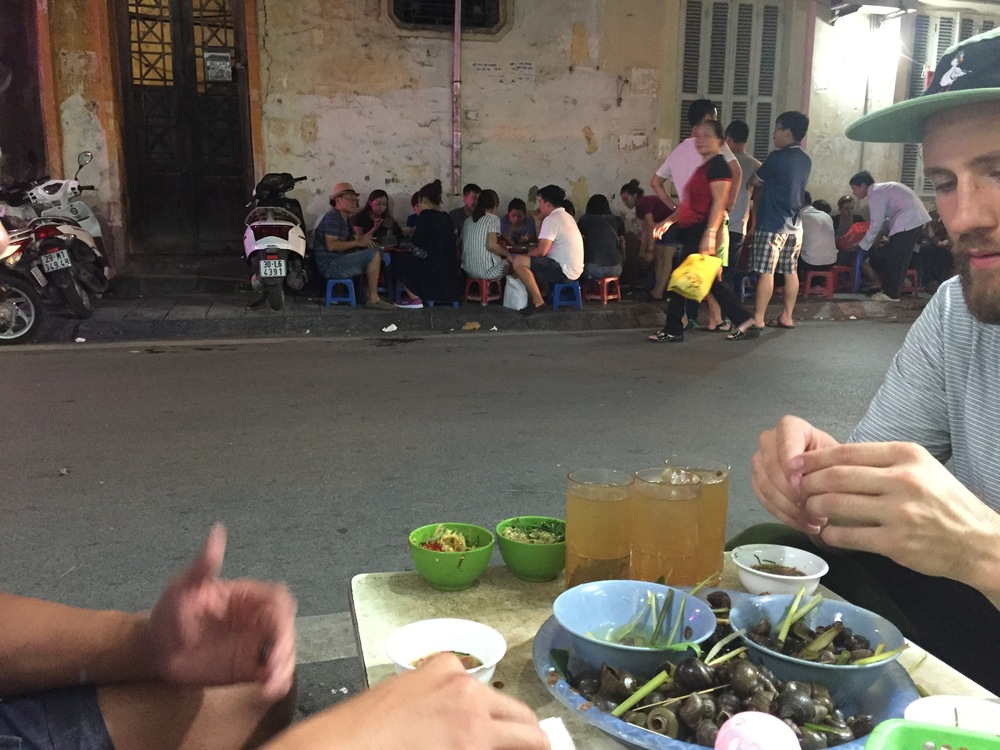 This is Nick Castle getting down on some steamed street-side periwinkle snails.  If you see any professional pictures or videos while traveling through Vietnam on this blog, he is the guy we owe credit too.  Check out his sick style on insta: @bouncecastle
