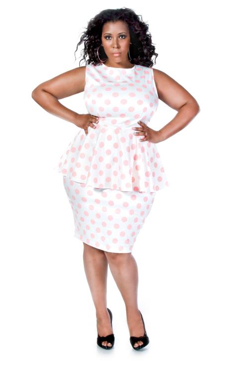 Jibri Plus Size Polka Dot Peplum Dress Jibri