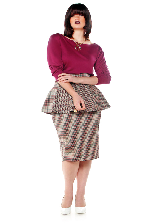 JIBRI High Waist Peplum Plaid Pencil Skirt — JIBRI