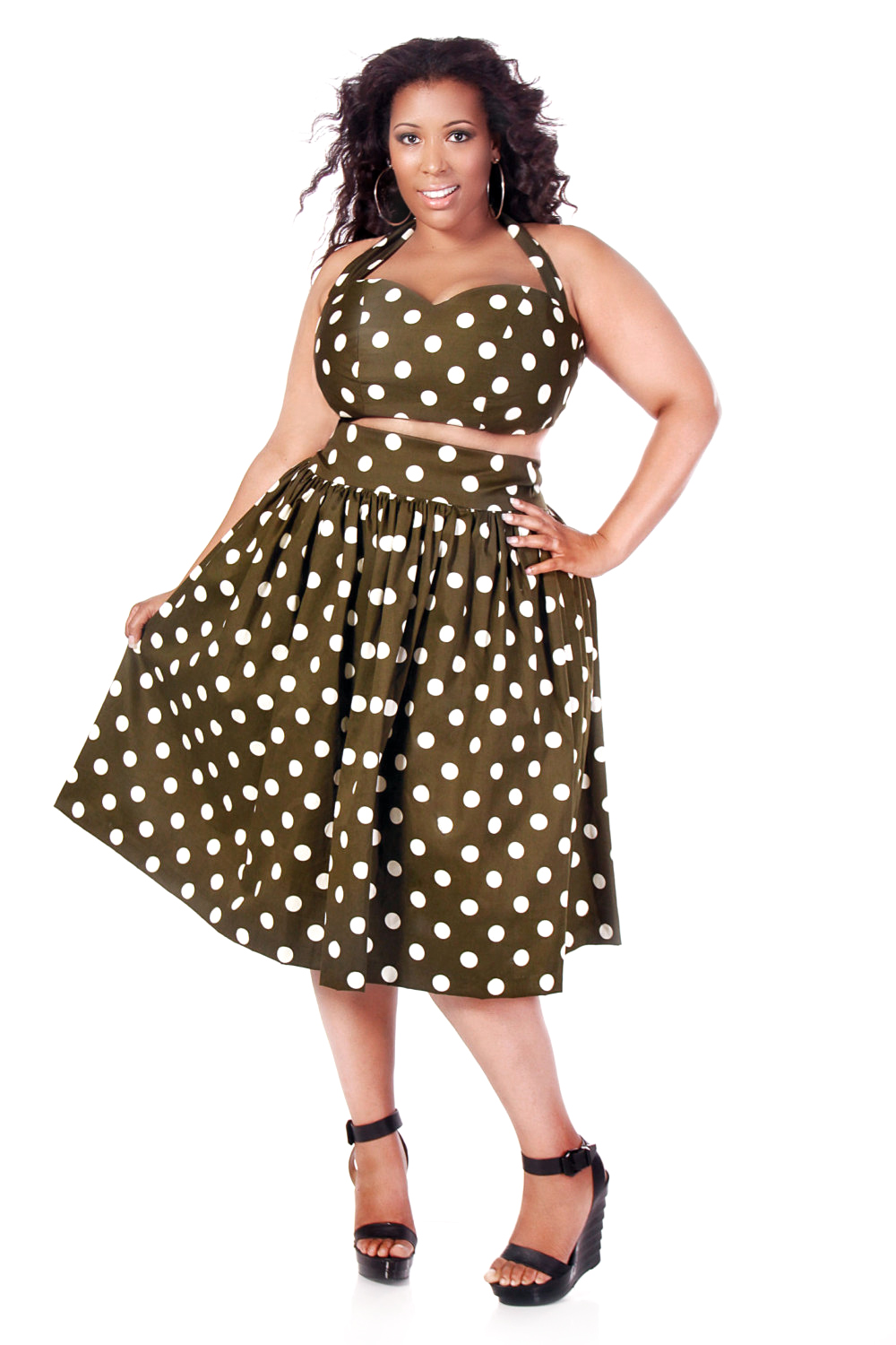 JIBRI High Waist Polka Dot Flare Skirt — JIBRI