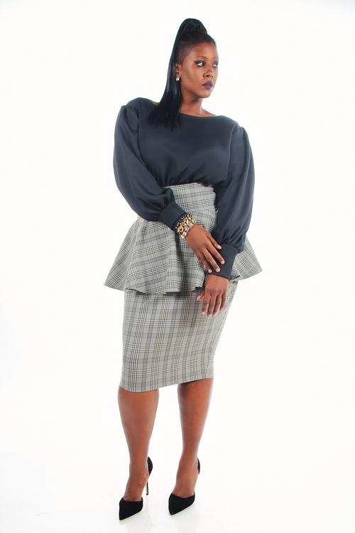 Jibri Plus Size High Waist Pencil Skirt Wpeplum Gray Plaid Jibri