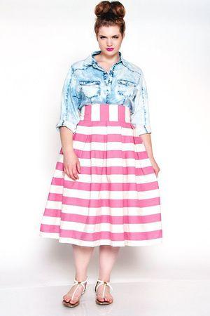 6838d61926c JIBRI Pink Striped High Waist Pleated Skirt