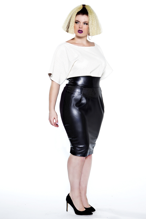 JIBRI High Waist Perforated Leather Pencil Skirt — JIBRI
