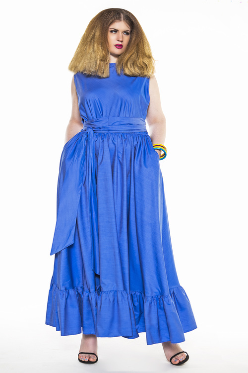 Jibri Blue Ruffle Sleeveless Spring Maxi Dress Jibri