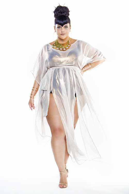 JIBRI Metallic Cap Sleeved Sheer Poolside Maxi Dress — JIBRI