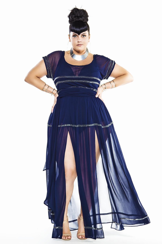 JIBRI Navy & Silver Cap Sleeved Sheer Poolside Maxi Dress — JIBRI