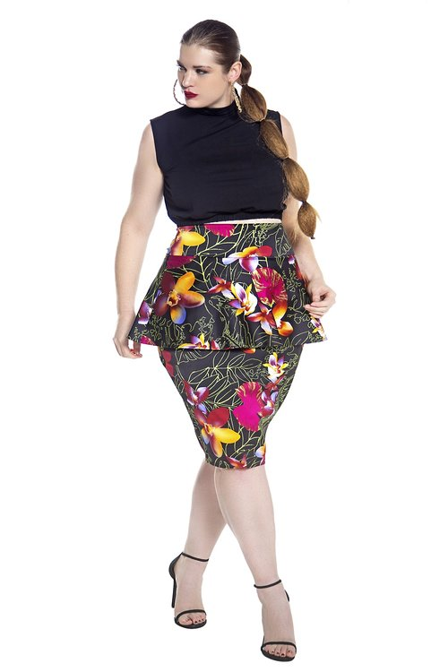 2c3234ebb02179 JIBRI High Waist Peplum Floral Pencil Skirt