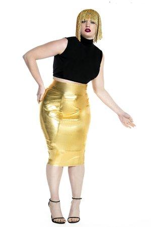 f327bf4ed96 JIBRI High Waist Gold Pencil Skirt