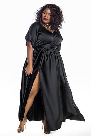 29ec12c00e JIBRI Black Bat Sleeved Maxi Dress
