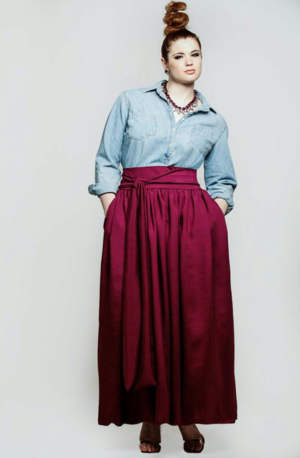 300e9303a1957 JIBRI Wine High Waist Belted Maxi Skirt