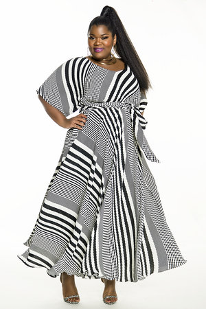 23a6522b42 JIBRI Black White Bat Sleeved Maxi Dress