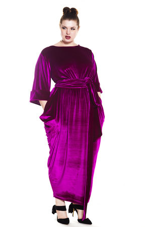 6d65be32df JIBRI Velvet Boat Neck Maxi Slouch Dress with Cuff