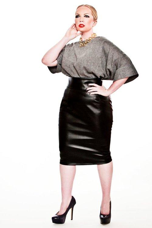 49f54038235 JIBRI High Waist Faux Leather Pencil Skirt. JIBRI Plus Size High Waist  Pencil Skirt