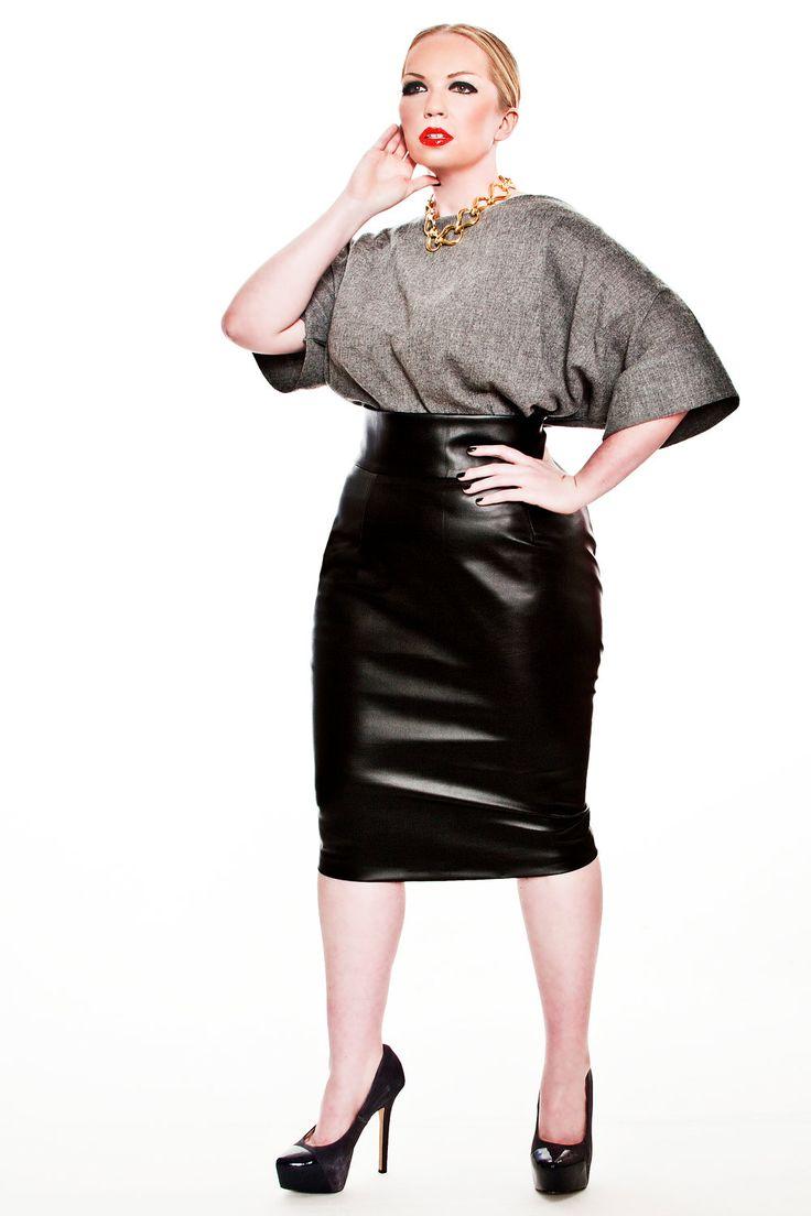 JIBRI High Waist Faux Leather Pencil Skirt — JIBRI