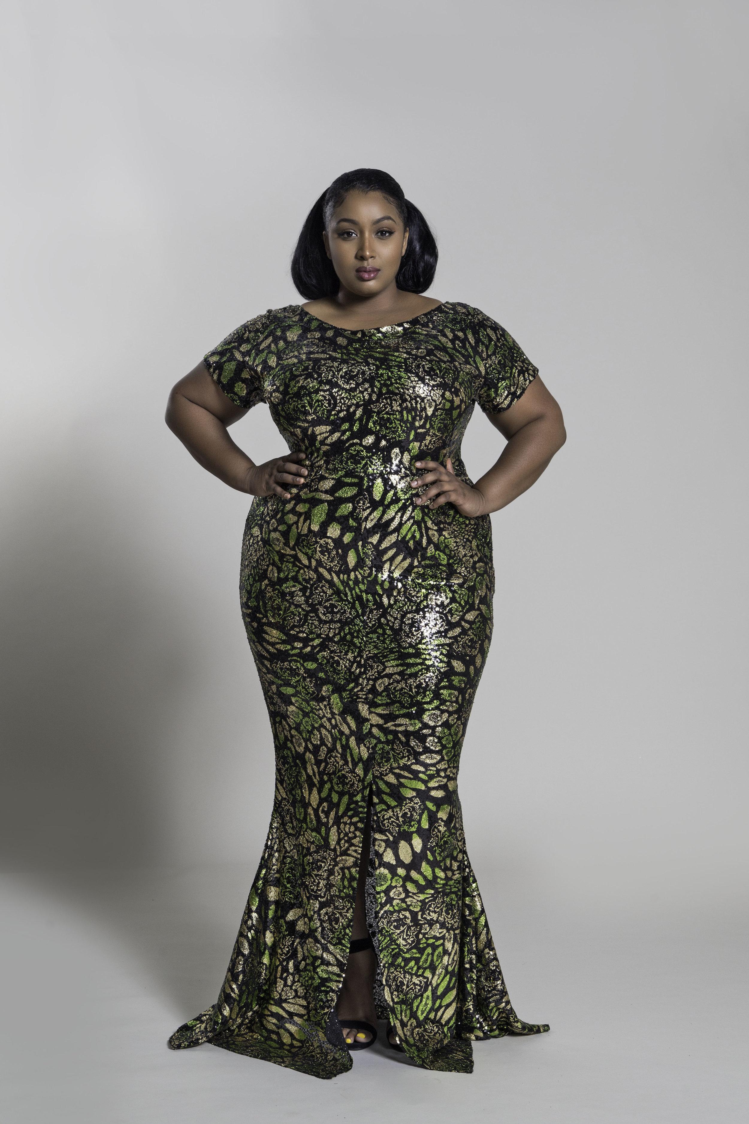 92a171ba166 JIBRI Cap-Sleeve Green Gold Black Sequin Mermaid Gown — JIBRI