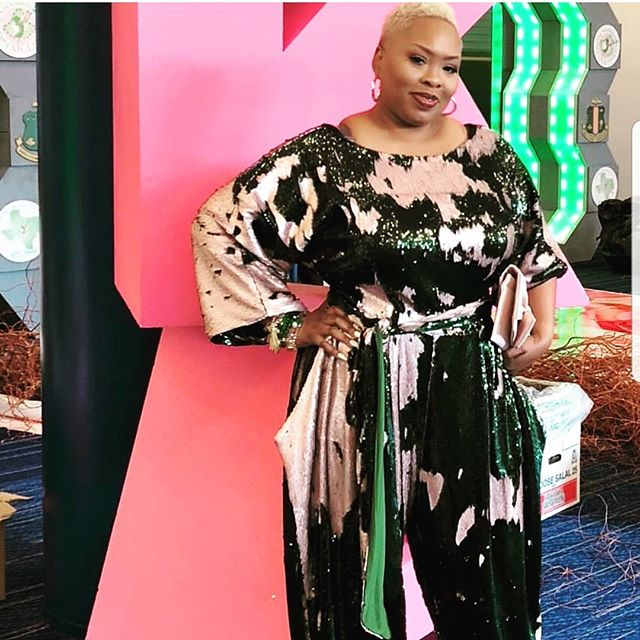 I spy the fabulous @komplakated08 in a custom JIBRI Sequin Jumpsuit as she celebrated at #akaboule2018. I know all eyes are on her tonight! www.jibrionline.com #ispyjibri #celebrateyourcurves #plusfashion #plussizefashion #plussizedresses #curvygirl #curvywoman #curvystyle #curvyfashion #celebratemysize #aka #alphakappaalpha