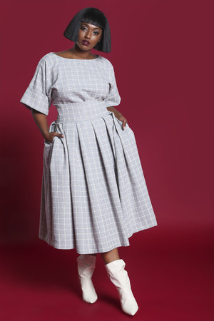 bb226b733b JIBRI High Waist Wool Grid Print Pleated Skirt