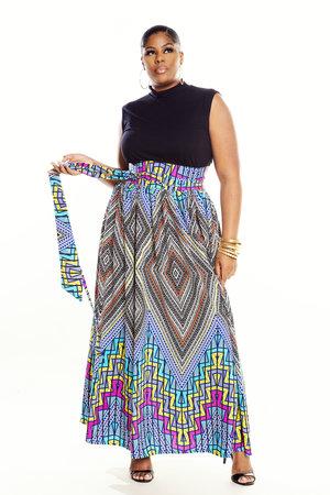 b3b3ad036 JIBRI High Waist Belted Maxi Skirt (Kalidescope)